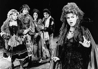 "(Left to Right) Danielle Ferland, Ben Wright, Kim Crosby, Chip Zien and Bernadette Peters in a scene from ""Into the Woods"" at the Martin Beck Theatre."