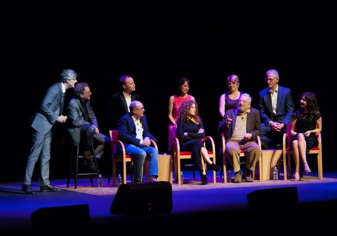 Into the Woods Reunion - back-Rocca,Zien,Wright,Crosby,Ferland,Westenberg; front Lapine,Peters,Sondheim,Gleason (2)