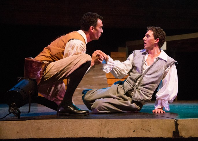 """In Shakespeare Orange County's Summerfest 2015 staging of """"As You Like It,"""" the tables are turned another 180 degrees as actor Josh Odsess-Rubin (left) plays the comic heroine who hides her sex under the guise of a man named Ganymede (right), and then is surprised when the lovestruck Orlando, played by Colin Martin shows how he would woo Rosalind when he sees her again. Photo by Jordan Kubat 